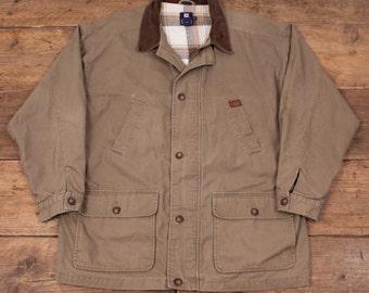 """Mens Vintage Ralph Lauren Chaps Plaid Lined Jacket Coat Green XXXL 56"""" R4381"""