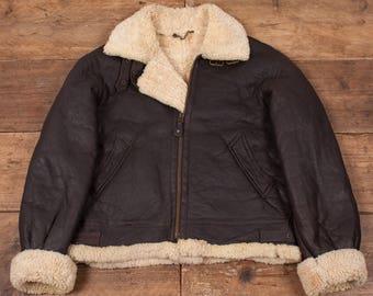 """Mens Vintage B3 Sheepskin Shearling Fur Lined Leather Jacket Brown L 44"""" R5054"""