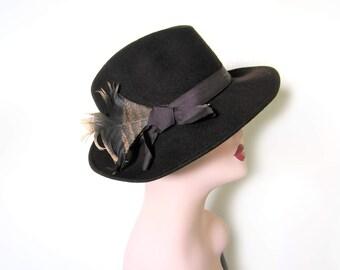 Vintage Mens Dark Brown Wool Fedora~ Circa 1950's