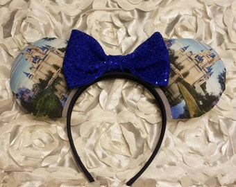 Castle Mouse Ears- Minnie Mouse Ears- Mickey Mouse Ears- Bows- Cinderella- Disney world