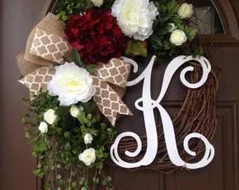 Wreath- Spring Wreath for Front Door - Hydrangea Wreath - Front Door Wreath with Initial - Grapevine Wreath- Monogram Wreath for the Door