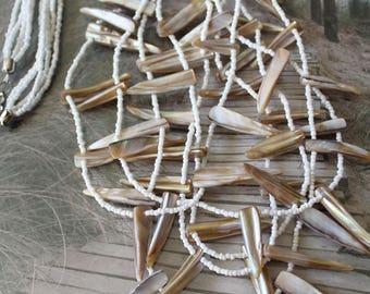 Vintage shell multistrand necklace