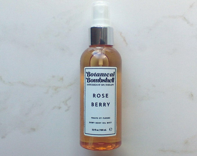 Rose Berry Dewy Body Oil Spray Mist / Moroccan Rose / Raspberry / Blueberry / Strawberry / Rosehip / Hibiscus 3.3 oz / 100 mL