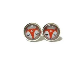 FOX EARRINGS - animal jewelry for girl - gift - red fox earrings - resin jewelry gift - orange earrings- woodland jewelry- earrings for kids