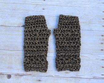 Brown Fingerless Gloves, Brown Mittens, Brown Gloves, Tan Crochet Gloves, Tan Gloves, Brown Crochet Gloves, Brown Wristwarmers, THE STARLING