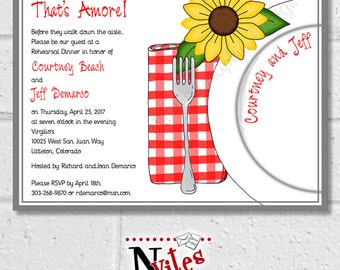 Rehearsal Dinner Invitation, Sunflower Dinner Party Invitation, Summer Red and White Checked Dinner, Italian Dinner Party Invites | DIGITAL