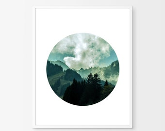 Mountains Circle Print Landscape Art Print Minimalist Nordic Trees Forest Nature Print Scandinavian art Clouds Blue Green Wall art Printable