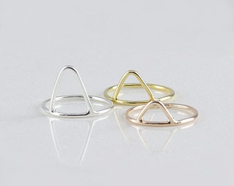 Open Triangle Ring • Dainty Points Ring • Triangle Stacking Ring • Geometric Ring • Mother's Gift