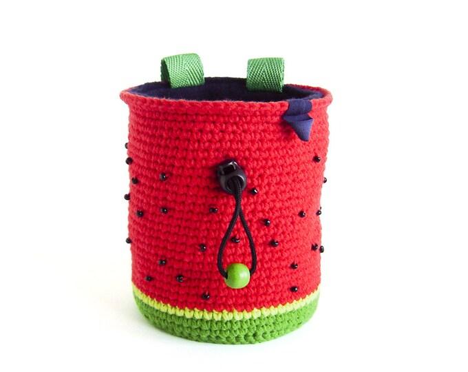 Watermelon Chalk Bag for Climbing. Rock Climbing Bag. Handmade Chalk Bag M or L size