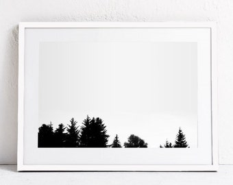 Forest Print, Forest Art, Nature Print, Landscape Print, Modern Minimalist Photography Black and White Forest PRINTABLE Art DIGITAL DOWNLOAD