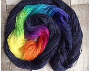 Hand dyed sparkle sock yarn/4 ply/'midsummer nights dream'  superwash merino nylon stellina yarn wool
