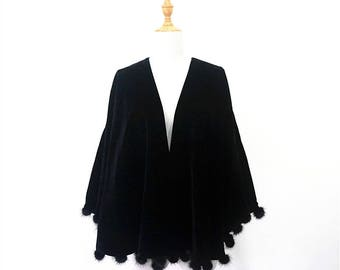 Luxury VELVET & REAL MINK balls tassels black cape.Vintage women party winter evening wrap velours fabric LaZLeP P701145