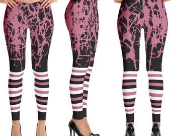 Striped leggings, striped pants, yoga pants, grunge pants