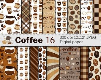 Coffee Digital Paper Set, Coffee Bean Digital Paper, Coffee Cup Patterns, Brown  Printable Scrapbook Papers, Instant Digital Download