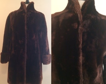 Vintage 1940s Moulieres Paris Rich Chocolate Mouton Sheer Fur Coat with Wide Bell Sleeves, and Standing Collar Rare
