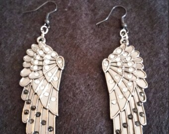 Gray and Silver Wing Earrings