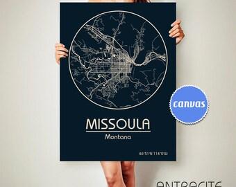 MISSOULA Montana CANVAS Map Missoula Montana Poster City Map Missoula Montana Art Print Missoula Montana poster Missoula Montana ArchTravel