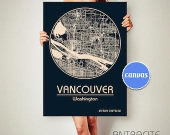 VANCOUVER Washington CANVAS Map Vancouver Washington Poster City Map Vancouver Washington Art Print Vancouver Washington