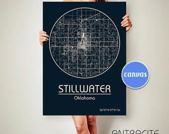STILLWATER Oklahoma CANVAS Map Stillwater Oklahoma Poster City Map Stillwater Oklahoma Art Print Stillwater Oklahoma poster Stillwater