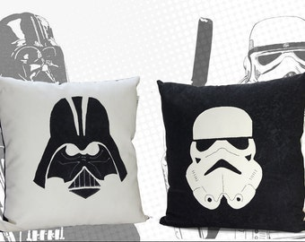 "2x STAR WARS pillow covers, Darth Vader pillow & Stormtrooper pillow, Star Wars cushions 17x17"" handcrafted (covers only)"