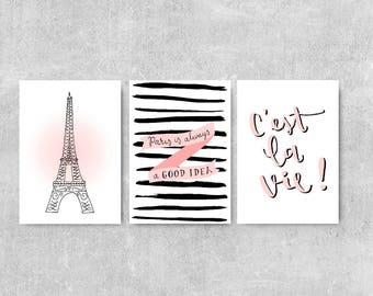 Paris Print Set, Gift For Her, Set Of 3 Prints, French Wall Art, Paris Illustration, Girly Wall Art, Paris Is Always A Good Idea, Pink Print
