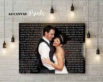 Personalized anniversary gift for her, Wedding picture with first song lyric on canvas