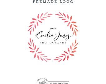 Floral Watercolor Logo design Premade, Floral Wreath Logo, Custom logo design, Feminine Branding, Premade Logo Design, Logo and watermark