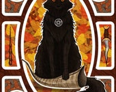 Black Cat With Pentagram on Autumn Pagan Wiccan Altar