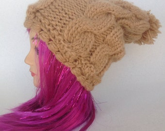Hat with pom pom#brown hat# winter hat#hat with cable# thick hat# knitten hat#woman's hat# accessioares# handmade knitten#banie#hat#wool hat