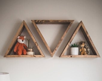 Triangle Shelf, Triangle Shelves, Geometric Shelf, Geometric Shelving, Floating Shelf, Floating Triangle Shelf, Nursery, Nursery Shelf