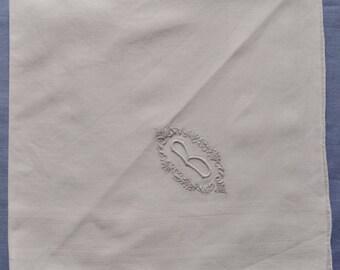 Men's Monogram Handkerchief - Initial B - Vintage - Madeira Hand Embroidered - Hanky - Wedding
