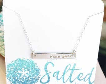 Mama Bear Bar Necklace - Mother's Day Gift - Silver Bar Necklace - Custom Jewelry - Gift For Her - Gift Under 25