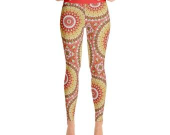 Summer Yoga Pants - Pattern Leggings, Bright Printed Leggings for Spring and Summer
