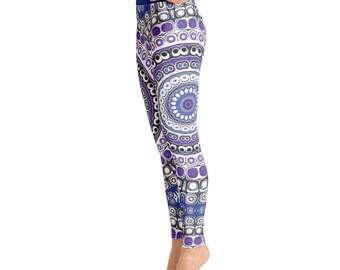 High Waist Tribal Leggings - Aztec Leggings, Blue and Purple Mandala Leggings, Festival Pants, Yoga Pants, Fashion Tights