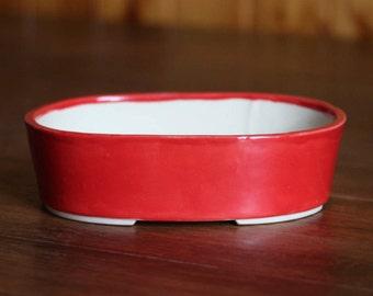Red oval bonsai pot