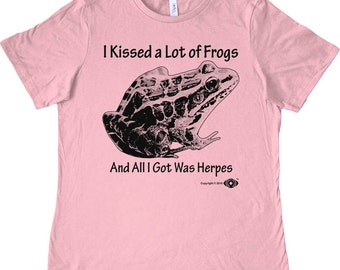 Herpetology T-shirt or Tank Top. Funny biology science shirt. Kissed a frog. White, Pink, Red, Teal, Kelly. Screen Printed, not vinyl!