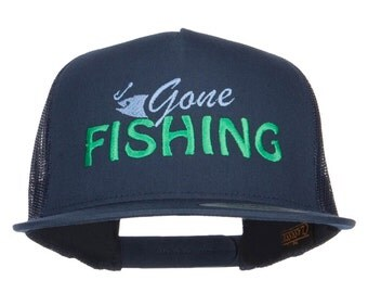 Gone Fishing Embroidered Snapback Mesh Cap