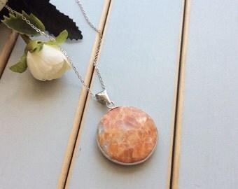 Large stone necklace, orange agate stone pendant, long silver necklace, boho jewelry, crystal necklace, stone pendant, agate necklace