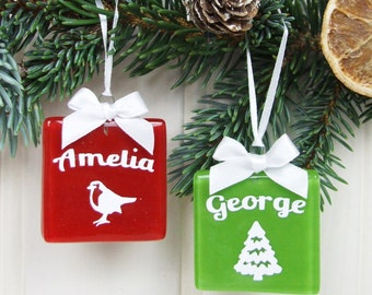 Personalised Handmade Fused Glass Paper Cut Christmas Keepsake Tree Decoration Gift Tag in Red Robin or Green Tree by Jessica Irena Smith