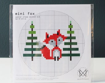 Mini Fox - Kids Counted Cross Stitch Kit - Beginner Level Cross Stitch Kit