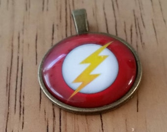 1 - Bronze - Glass Cabochon - Pendant - Necklace - Yellow Lightning Bolt - The size is 36mm x 28mm