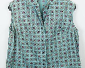Vintage shirt, turquoise with print, 90s clothing, oversized