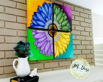 4 Piece Wall Art, Acrylic Flower Painting, Hand Painted Floral Wall Art, Floral Artwork, Abstract Flowers, Floral Canvas, Floral Painting