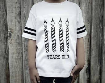 Giant Birthday Candle (4, 3, 2 years old) Football Tee - White and Black - Kids Clothes - Toddler and Youth - Stylish Birthday Shirt - Gift