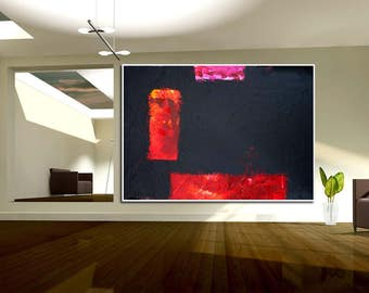 Abstract XXL Black &  Red Purple large contemporary art handpainted heavy texture modern canvas acrylics
