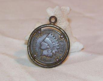 1909 Indian Head Penny In Sterling Bezel, 925 Bezel Indian Head Penny 1909, Very Old Genuine Indian Head Penny,