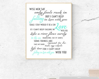 Can't Help Falling In Love With You, Song Lyrics By Elvis: 8x10 Digital Download Print in Mint and Dark Gray