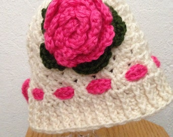 crochet hat,  1-3 Years, 2 T, Toddler, Baby  Girl Beanie, RTS,  Winter, Fall, SpringHat, Off White,  Hat with Pink Flower, Christmas Gift