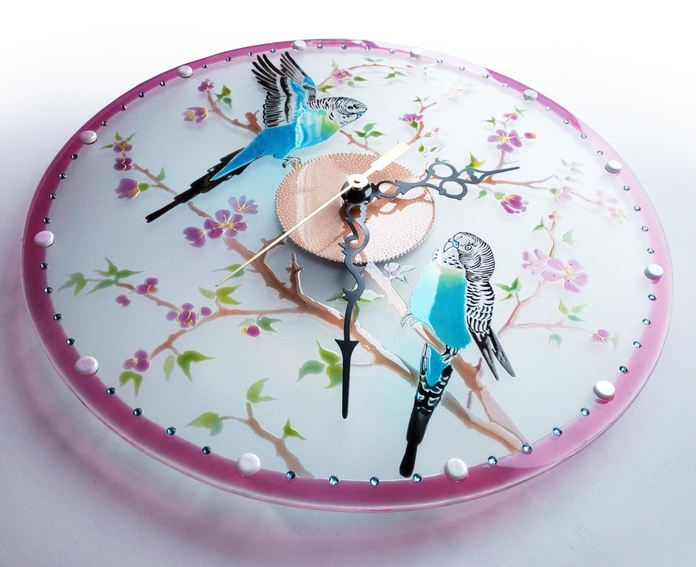 Glass Wall Clock With Parrots Hand Painted Glass Wall Clock