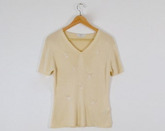 1920s Flapper Style Silk Top with Embroidery  |  Vintage Ivory Silk Top  |  Vintage Silk Top